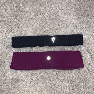 Lululemon Black And Purple Headband Set